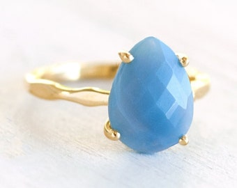 Blue Opal Prong Ring, October Birthstone, Gift for Libra, Tear Drop Gemstone Ring, Baby Shower Gift, Gift for New Mom, Stacking Ring, RG-PP