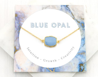 Simple Blue Opal Necklace, Best Friend Gift, Healing Gemstone Necklace, Meaningful Necklace, Opal Pendant Gold, Gemstone Choker Blue Jewelry