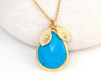 Turquoise Necklace Gold, December Birthstone Necklace, Personalized Necklace, Bridal Shower Gift, Initial Necklace, New Mom Gift, NK-15