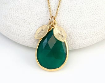 May Birthstone Necklace, Custom Initial Necklace, Gemstone Pendant, Green Tear Drop Stone, Green Onyx Necklace, Present for Mom, NK-15