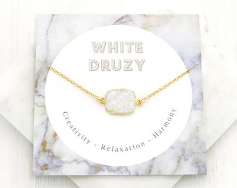 White Druzy Necklace, Motivational Gift Necklace, Natural Druzy Pendant Necklace, Geode Necklace, Druzy Crystal, Crystal Necklace, NK-GS