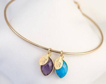 Family Birthstone Charm Bangle, Baby Shower Gift, New Mom Initial Bracelet, Custom Bracelet, Family Tree Bracelet, Personalized Gift Jewelry