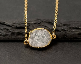 Natural Crystal Necklace, White Druzy Necklace, Gemstone Slice Choker, Druzy Necklace, Dainty Stone Necklace, Bridesmaid Gift, NK-GS