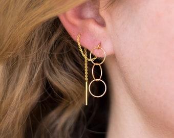 Simple Dainty Threader Earrings, Modern Geometric Jewelry, Dangle Drop Earrings, Gifts under 30, Bridesmaid Gifts, Pull Through Earrings