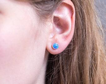 Opal Stud Earrings, Sterling Silver Opal Earrings, Gemstone Studs, Blue Opal Studs, White Opal Round Studs, Gift Ideas for Her, EA-RD