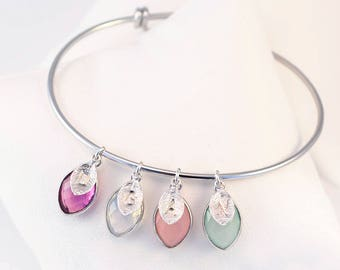 Birthstone Charm Bangle, Custom Stamped Initial, Silver Bangle Bracelet, Family Bracelet for Mom, Mothers Day Gift for Grandma, Special Gift