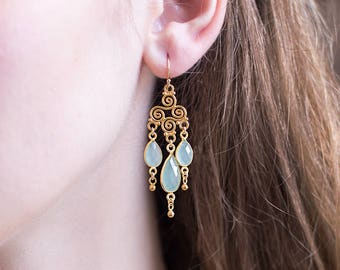 Aqua Chalcedony Drop Earrings, Bridal Chandelier Earrings, Ornate Swirl Earrings, Gold Filigree Earrings, Dangle, Handmade Wedding Jewelry