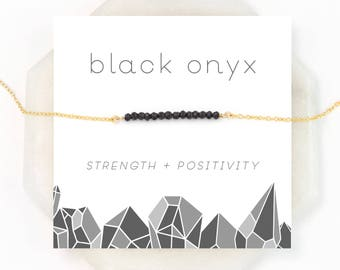 Delicate Onyx Bar Necklace, Black Onyx Choker, Everyday Motivational Jewelry, Healing Crystal, Layering Necklace, Girlfriend Gift, NK-DB
