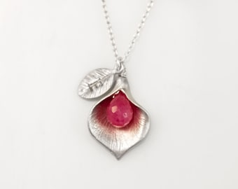 Ruby Personalized Birthstone Necklace - July Birthstone Necklace- Custom Initial - Personalized necklace - Calla Necklace