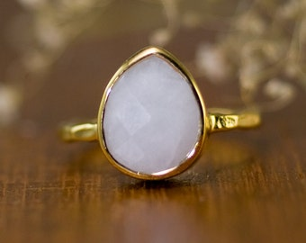 White Agate Ring Gold, Bridal Ring, White Stone Ring, Gemstone Ring, Stackable Solitaire Ring, Tear Drop Ring, One of a Kind Gift, RG-PB