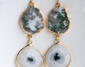 Solar Quartz Earrings - Green Moss Quartz earrings - Two Tier Gemstone earrings - Gold Earrings - Long Drop earrings