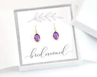 Bridesmaid Jewelry Thank You Gift, Simple Birthstone Earrings, Bridal Jewelry, Wedding Gift Ideas, Maid of Honor Gift, Amethyst Gemstone