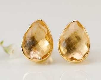 Citrine Stud Earrings - November Birthstone Studs - Gemstone Studs - Tear Drop Studs - Gold Stud Earrings - Post Earrings