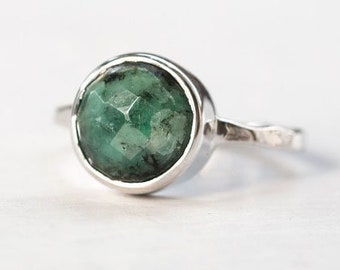 40 0FF - Raw Emerald Ring - May Birthstone Ring - Gemstone Ring - Stacking Ring - Sterling Silver Ring - Round Ring, RG-RD