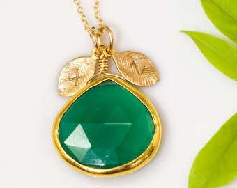 Green Onyx Necklace, Tear Drop Pendant, Framed Stone, Green Stone Necklace, Statement Jewelry, May Birthstone, Personalized Gift, NK-20