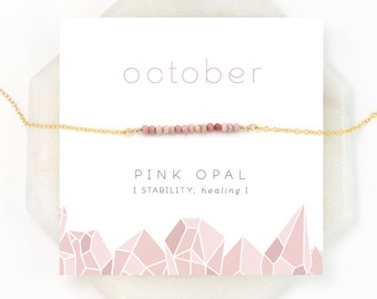 Delicate Pink Opal Beaded Necklace, Blush Pink Gem Bar, Opal Necklace, October Birthstone, Birthday Gift, Healing Stone, Gift For Her, NK-DB