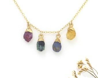 Genuine Birthstone Necklace, Personalized Custom Jewelry, New Mom Jewelry Gift, Family Tree Necklace, Personalized Birthstone Necklace