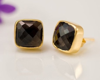 Smokey Quartz Stud Earrings - Gemstone Studs - Cushion Cut Studs - Gold Stud Earrings - Post Earrings