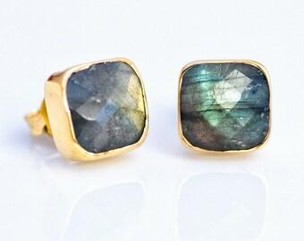 Labradorite Stud Earrings - Gemstone Studs - Cushion Cut Studs - Gold Stud Earrings - Post Earrings, EA-SQ