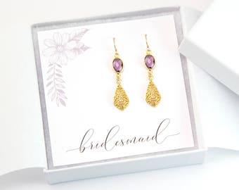Bridesmaid Gift, Purple Amethyst Filigree Earrings, Ornate Drop Earrings, Gold Dangly Earrings, Maid of Honor Gift, Dainty Bridal Jewelry