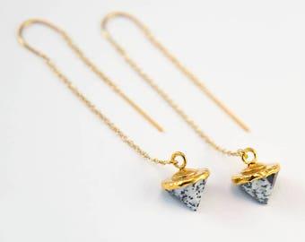 Dendrite Opal Earrings, Gold Threader Earrings, Gemstone Spike Earrings, Ear Threaders, Minimal Jewelry, Dainty Everyday Earring, TH-C