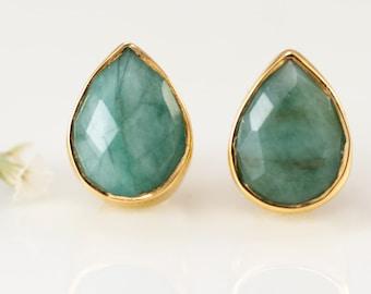 Raw Emerald Stud Earrings - May Birthstone Studs - Gemstone Studs - Tear Drop Studs - Gold Stud Earrings - Post Earrings, EA-PB