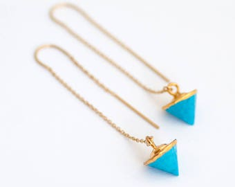 Turquoise Threader Earrings, Gemstone Spike Earrings, Ear Threaders, Minimalist Jewelry, Boho Earrings, Long Gold Dangle Earring, TH-C