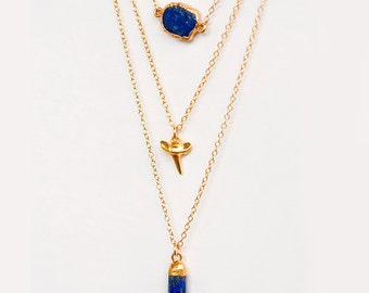 Layered Necklace Set - Set of 3 - Blue Lapis Lazuli Necklace - Layering Necklaces - Gold Necklace - Shark Tooth Necklace - Boho Chic Jewelry