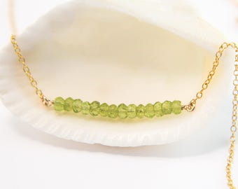 Natural Peridot Gemstone Bar Necklace, August Birthstone Layering Necklace, Delicate Choker, Tiny Gemstones, Minimal Necklace, NK-DB