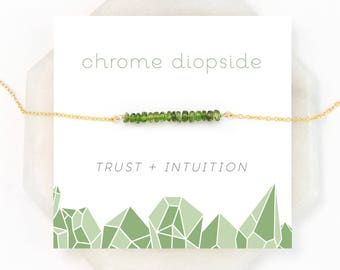 Green Gemstone Necklace, Chrome Diopside, Beaded Bar, Wearable Boho Necklace, Gift for Her, Minimal Jewelry, Meditation Necklace, NK-DB