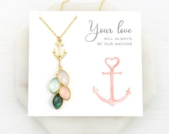 Family Tree Jewelry for Mom, Anchor Necklace, Grandma Generations Necklace, Custom Birthstone Christmas Gift, You Are My Anchor