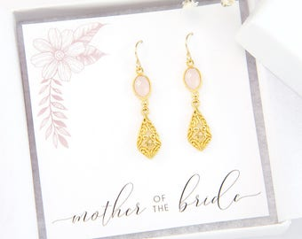 Mother of the Bride Gift, Pink Filigree Earrings, Classic Gold Jewelry, Gift for Mom, Gemstone Jewelry, Ornate Earrings, Jewelry for Wedding