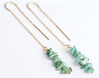 Rough Turquoise Earrings - Long Gold Dangle Earring - Ear Thread Earrings  -December Birthstone Earrings - Long Boho Chick Earrings