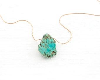 Raw Turquoise Necklace, December Birthday Gift, Yoga Meditation Stone, Statement Necklace, Everyday Jewelry, Raw Gemstone Pendant, NK-TH