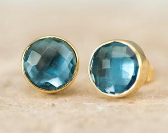 London Blue Topaz Studs, December Birthstone Stud Earrings, Birthday Gift Ideas, Gold Framed Stone, Simple Stud Earrings