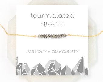 Unique Gemstone Choker, Tourmalated Quartz, Dainty Chain, Tourmalinated Quartz, Celestial Jewelry, Modern Black and White Necklace, NK-DB
