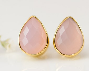 Pink Chalcedony Tear Drop Stud Earrings, October Birthstone Jewelry, Bridesmaids Earrings, Bridal Party Gifts, Rose Quartz Studs