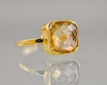Yellow Citrine Ring Gold, November Birthstone Ring, Square Stone Ring, Gemstone Ring, Stacking Ring, Cocktail Ring, Birthday Gift