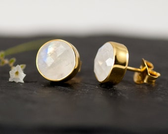 Rainbow Moonstone Stud Earrings - June Birthstone Earrings - Gemstone Studs - Round Studs - Gold Stud Earrings - Post Earrings