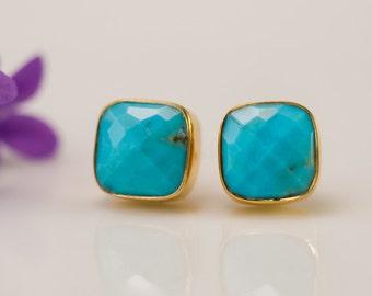 Turquoise Stud Earrings - December Birthstone Stud Earrings - Gemstone Studs - Cushion Cut Studs - Gold Stud Earrings - Post Earrings
