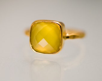 40 OFF - Yellow Chalcedony Ring - Gemstone Ring - Stacking Ring - Gold Plated - Cushion Cut Ring, RG-SQ