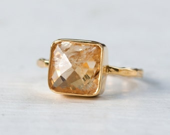 40 0FF - Citrine Ring - November Birthstone Ring - Gemstone Ring - Stacking Ring - Gold Ring - Cushion Cut Ring, RG-SQ