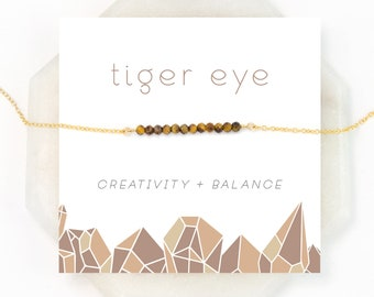 Natural Tiger Eye Necklace, Balance Stone, Celestial Jewelry, Cat's Eye, Festival Necklace, Woodland Jewelry, Gemstone Bar, NK-DB