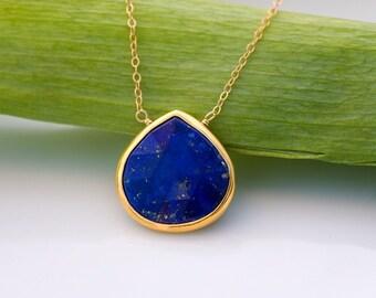 Lapis necklace - Bezel Gemstone necklace - Gold necklace - Something Blue - September Birthstone - Layered Necklace - Stone Pendant, NK-20