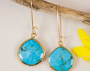 Turquoise Earrings - Long Dangle Drop Earrings - Bezel Set Earrings - Large Gemstone Earrings - Gold Earrings