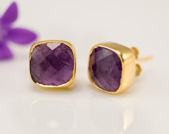 Purple Amethyst Stud Earrings - February Birthstone Studs - Gemstone Studs - Cushion Cut Studs - Gold Stud Earrings - Post Earrings