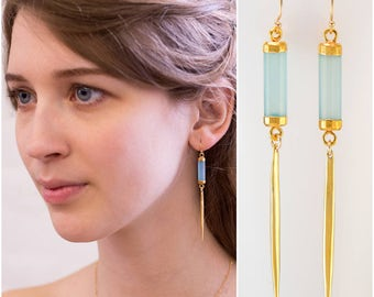 Aqua Blue Long Gold Dangle Drop Earring - Minimal Jewelry - Spike Earrings - Long thin Gold Earrings - Needle Earrings - Modern Earrings