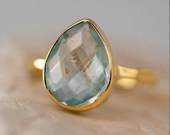 Aquamarine ring Gold - March Birthstone Ring - Solitaire Stone Ring - Stacking Ring - Gold Vermeil Ring - Tear Drop Ring