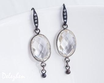 Clear Quartz Earrings - Black Oxidized Silver Earrings - Bridal Jewelry - Gemstone Earrings - April Birthstone Earrings