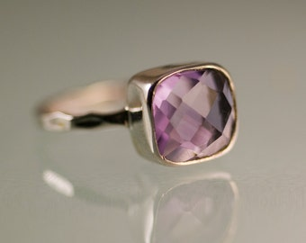Light Purple Amethyst Ring Silver, February Birthstone Gift, Cushion Solitaire Ring, Purple Ring, Stacking Ring, Sterling Silver Ring, RG-SQ
